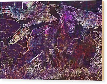 Wood Print featuring the digital art Zoo Monkey Animal  by PixBreak Art