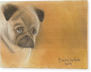 Zooey The Pug Wood Print by Dindin Coscolluela