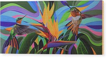 Zumbador Canela Wood Print by Angel Ortiz