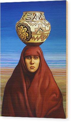 Zuni Woman Wood Print by Jane Whiting Chrzanoska