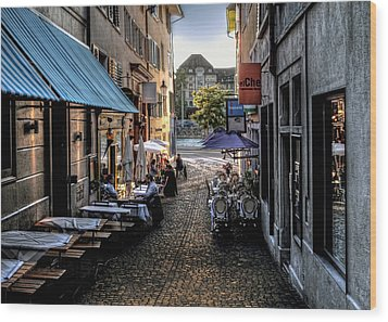 Zurich Old Town Cafe Wood Print by Jim Hill