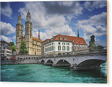 Wood Print featuring the photograph Zurich Old Town  by Carol Japp
