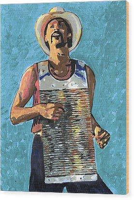 Zydeco Joe Wood Print by Jerry Schwehm