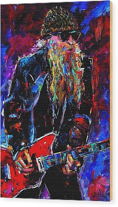 Zz Top Billie Gibbons Wood Print by Debra Hurd