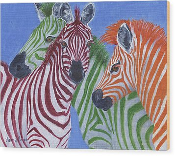 Wood Print featuring the painting Zzzebras by Jamie Frier