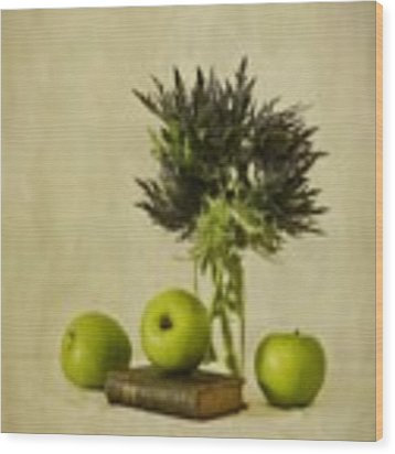 Green Apples And Blue Thistles Wood Print