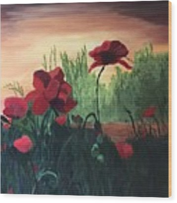 Poppies Wood Print by Jane Croteau