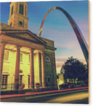 Saint Louis Arch And Cathedral At Dawn Wood Print by Gregory Ballos