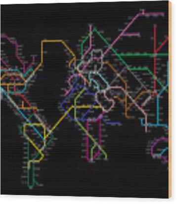 World Metro Map Wood Print