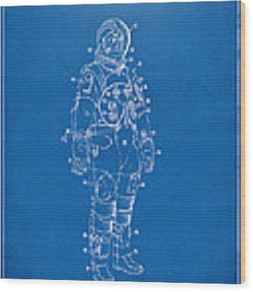 1973 Astronaut Space Suit Patent Artwork - Blueprint Wood Print