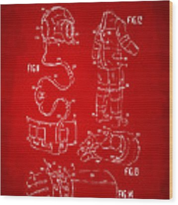 1973 Space Suit Elements Patent Artwork - Red Wood Print