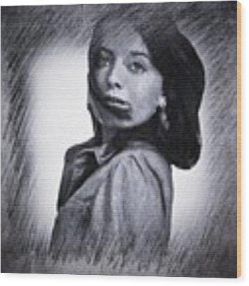 Selfportrait  Wood Print by Colette V Hera Guggenheim