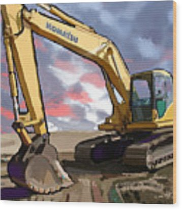 2004 Komatsu Pc200lc-7 Track Excavator Wood Print