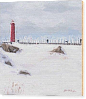 Michigan Winter Wood Print by Jill Wellington