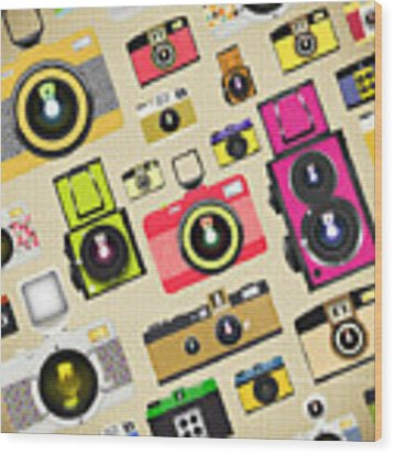 Retro Camera Pattern Wood Print
