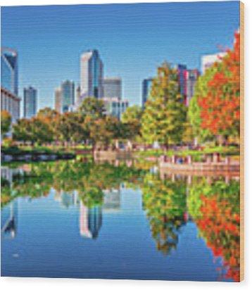 Charlotte City Skyline From Marshall Park Autumn Season With Blu Wood Print by Alex Grichenko