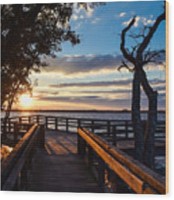 Sunset On The Cape Fear River Wood Print by Willard Killough III