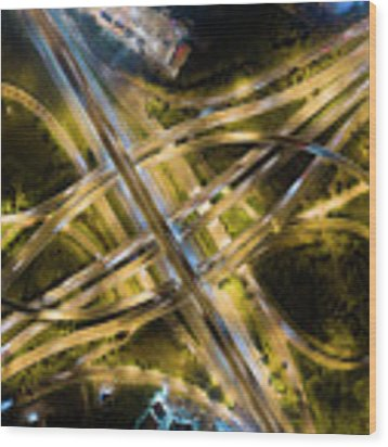 Aerial View Of Traffic Jams At Nonthaburi Intersection In The Evening, Bangkok. Wood Print by Pradeep Raja PRINTS