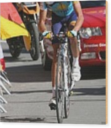 Alberto Contador - Mountain Stage Wood Print by Travel Pics