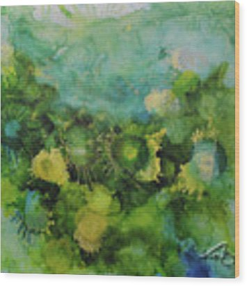 Alcohol Ink 1 Wood Print by Kate Word