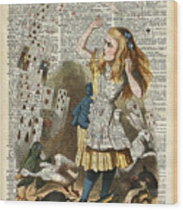 Alice In The Wonderland On A Vintage Dictionary Book Page Wood Print