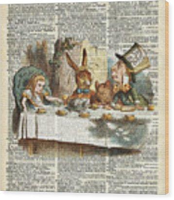 Alice Morning Tea Time Wood Print