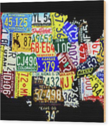 Us License Plate Map Wood Print by Miles Whittingham
