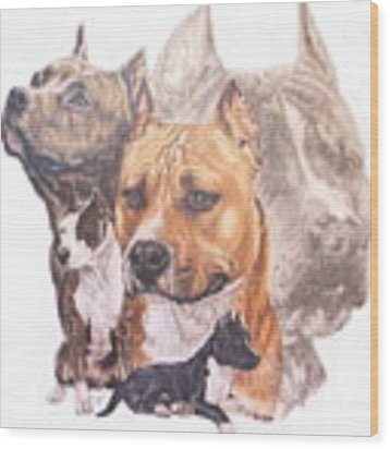 American Pit Bull Terrier Grouping Wood Print by Barbara Keith