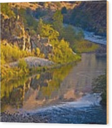 American River Triptych 2 Wood Print by Sherri Meyer