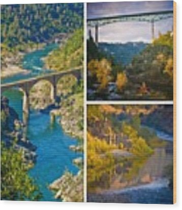 American River Triptych 3 Wood Print by Sherri Meyer