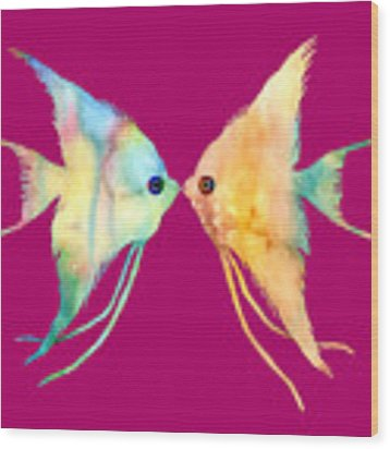 Angelfish Kissing Wood Print by Hailey E Herrera