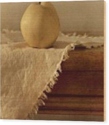 Apple Pear On A Table Wood Print