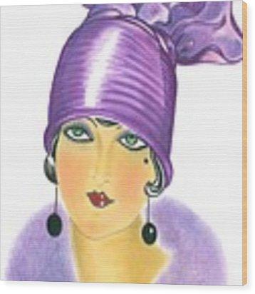 Art Deco Lady - Phoebe Wood Print by Di Kaye