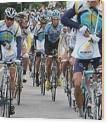 Astana Team With Lance Armstrong Wood Print by Travel Pics