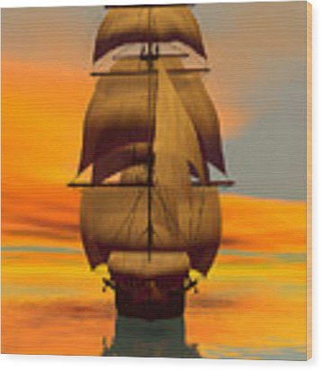 At Full Sail Wood Print by Sandra Bauser Digital Art