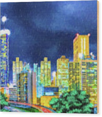 Atlanta Skyline At Night Wood Print by Mark Tisdale