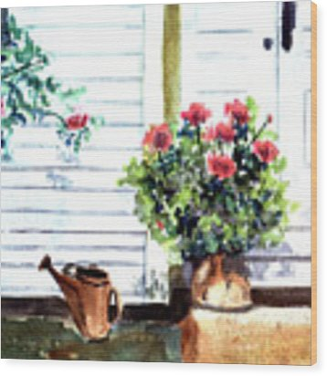 Auntie's Porch Wood Print by Jane Croteau