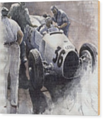 Auto Union B Type 1935 Italian Gp Monza B Rosermeyer Wood Print by Yuriy Shevchuk