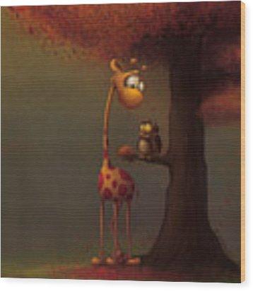 Autumn Giraffe Wood Print