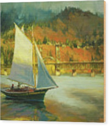 Autumn Sail Wood Print by Steve Henderson