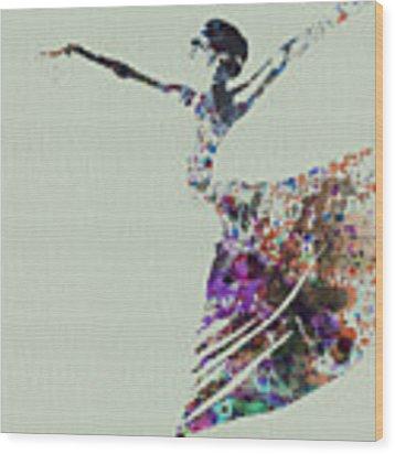Ballerina Dancing Watercolor Wood Print