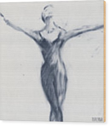 Ballet Sketch Open Arms Wood Print by Beverly Brown