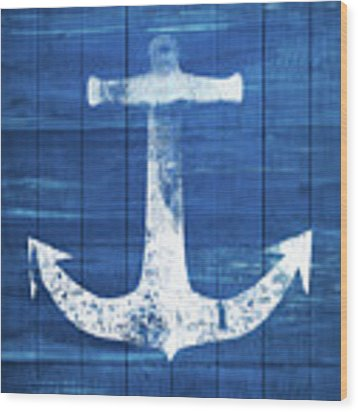 Blue And White Anchor- Art By Linda Woods Wood Print