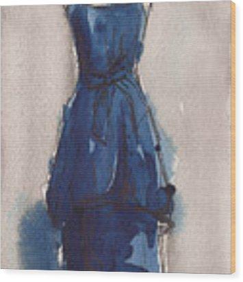 Blue Dress II Wood Print