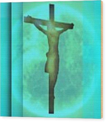Blue Environment Crucifixion Wood Print by Alberto RuiZ