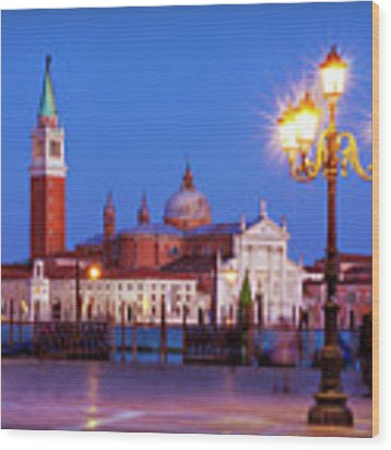 Blue Hour In Venice Wood Print by Barry O Carroll