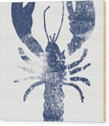 Blue Lobster- Art By Linda Woods Wood Print by Linda Woods
