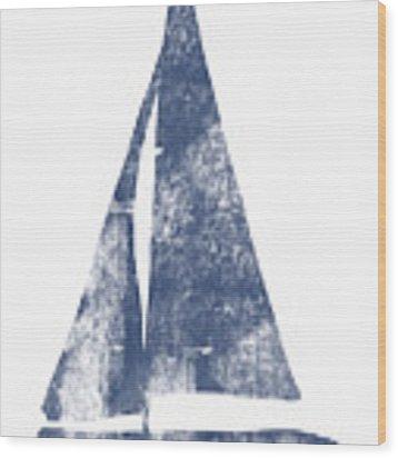 Blue Sail Boat- Art By Linda Woods Wood Print