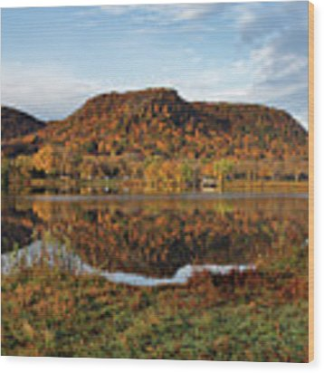 Bluff Reflection And Shoreline Agree In Winona Minnesota Wood Print by Kari Yearous