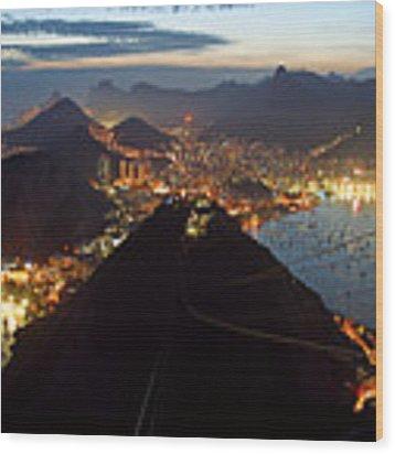 Brasil,rio De Janeiro,pao De Acucar,viewpoint,panoramic View,copacabana At Night Wood Print by Juergen Held